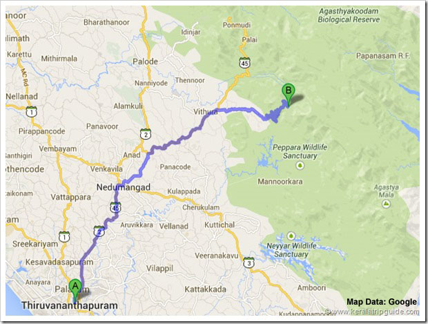 Trivandrum to Bonacaud road map