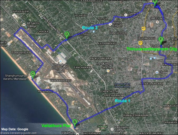Thiruvananthapuram routes to Valiathura pier