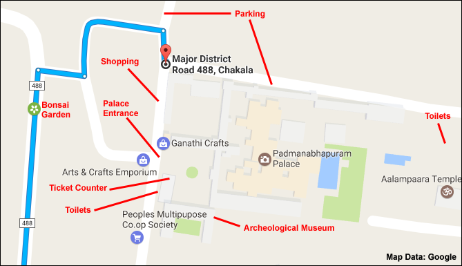 Padmanabhapuram Palace Location Map